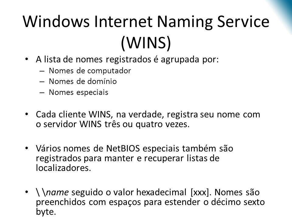 Windows Internet Naming Service (WINS) A lista de nomes registrados é agrupada por: – Nomes de computador – Nomes de domínio – Nomes especiais Cada cliente WINS, na verdade, registra seu nome com o servidor WINS três ou quatro vezes.