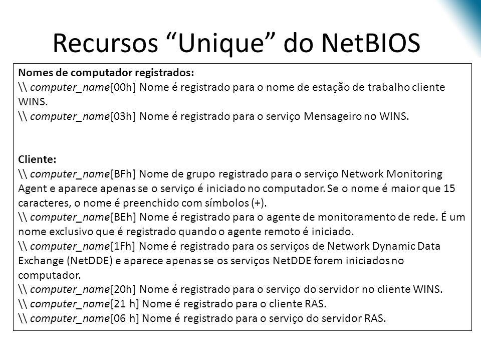 Recursos Unique do NetBIOS Nomes de computador registrados: \\ computer_name[00h] Nome é registrado para o nome de estação de trabalho cliente WINS. \