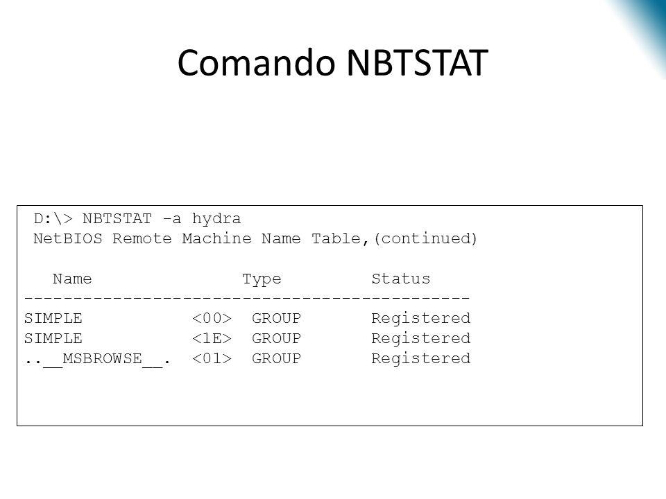 Comando NBTSTAT D:\> NBTSTAT -a hydra NetBIOS Remote Machine Name Table,(continued) Name Type Status --------------------------------------------- SIM