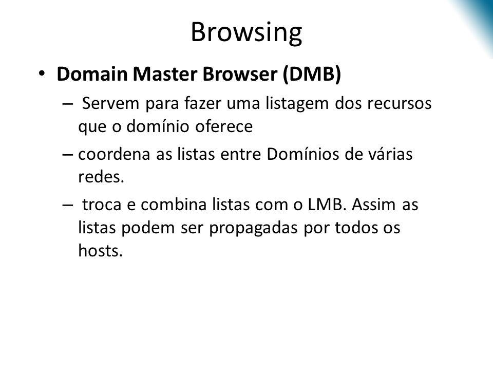 Browsing Domain Master Browser (DMB) – Servem para fazer uma listagem dos recursos que o domínio oferece – coordena as listas entre Domínios de várias redes.