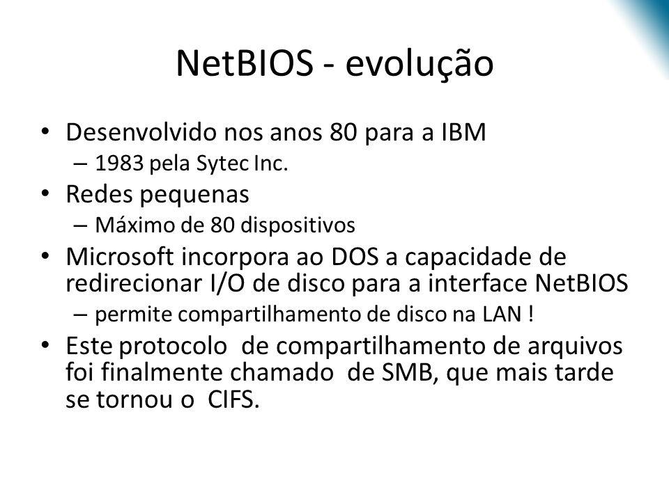 NetBIOS - evolução Desenvolvido nos anos 80 para a IBM – 1983 pela Sytec Inc. Redes pequenas – Máximo de 80 dispositivos Microsoft incorpora ao DOS a