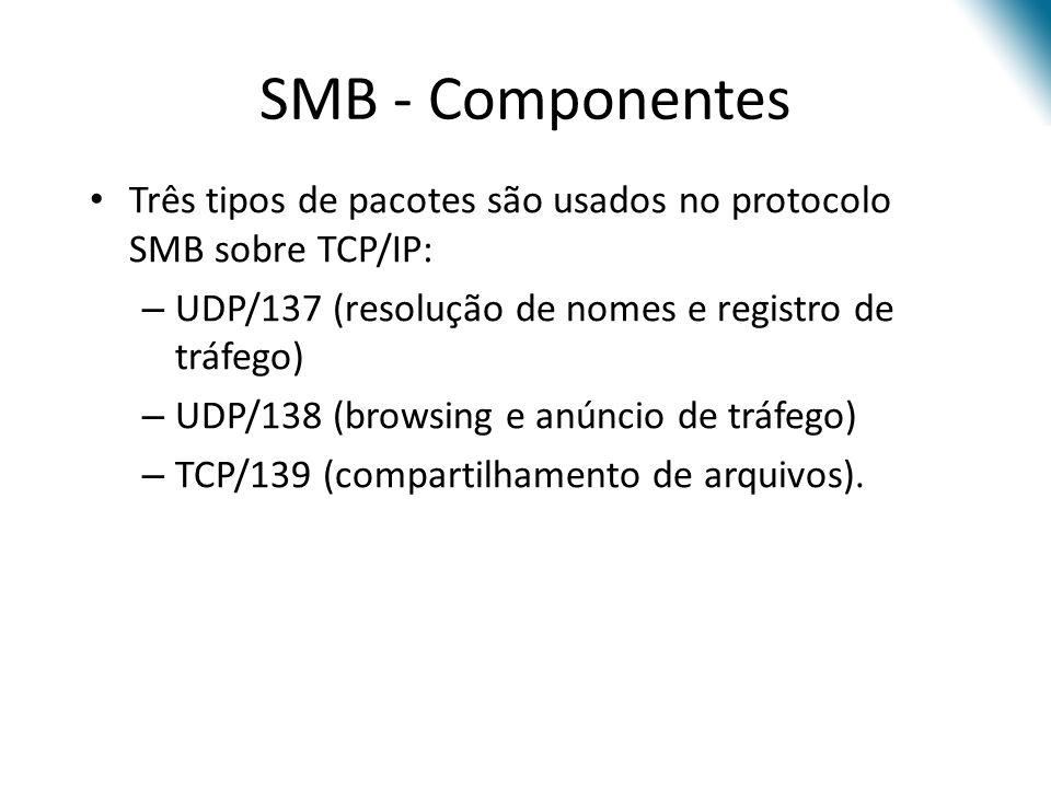SMB - Componentes Três tipos de pacotes são usados no protocolo SMB sobre TCP/IP: – UDP/137 (resolução de nomes e registro de tráfego) – UDP/138 (browsing e anúncio de tráfego) – TCP/139 (compartilhamento de arquivos).
