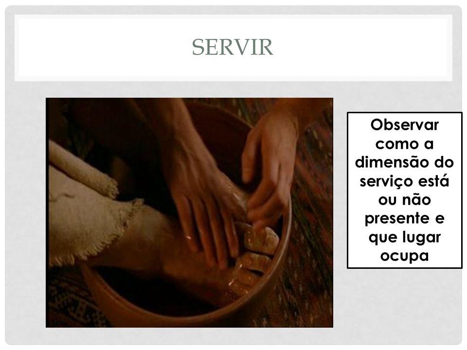 SERVIR Observar como a dimensão do serviço está ou não presente e que lugar ocupa