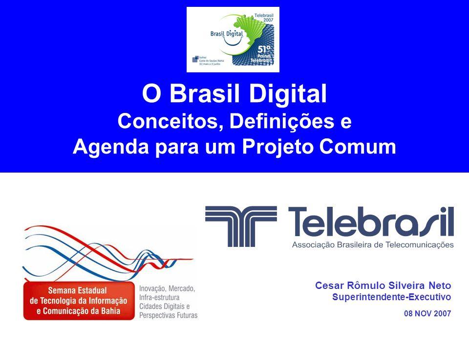 TELEBRASIL - Semana Estadual de Tecnologia da Informação e Comunicação da Bahia - 08nov2007 11 Aperfeiçoamento do Modelo de (Tele)Comunicações Serviço de TV a Cabo (jan 1995) EC 88 (15 ago 1995) Competência da União: Telecomunicações >>> Radiodifusão Concessão de Outorgas: Telecomunicações >>> Radiodifusão Serviços de Valor Adicionado: Internet (desregulada) Lei Mínima ( jul 1996) – permitiu privatização celular Lei Geral de Telecomunicações (jul 1997) Regulamento da ANATEL (decreto de out 1997) Plano Geral de Outorgas STFC Plano Geral de Universalização STFC Plano Geral de Qualidade do Serviço STFC Regulamento de Interconexão de Redes de Telecomunicações Regulamento de Remuneração de Redes de Telecomunicações ooo (inúmeros outros) Serviço de Radiodifusão Comunitária (fev 1998) Privatização das Empresas do Sistema TELEBRÁS (29 jul 1998)