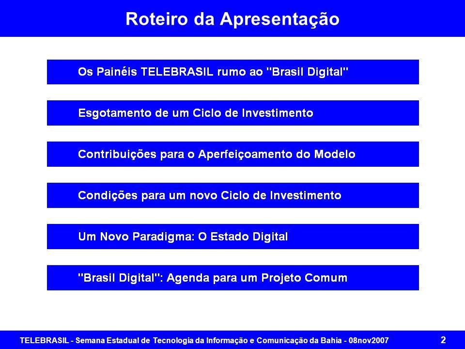 TELEBRASIL - Semana Estadual de Tecnologia da Informação e Comunicação da Bahia - 08nov2007 42 Condições para um Novo Ciclo de Investimentos Perguntas que se impõem : qual a situação da prestação dos serviços, que são de responsabilidade do Estado Brasileiro, em cada um desses quadrantes.