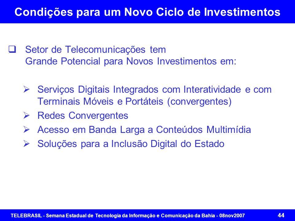 TELEBRASIL - Semana Estadual de Tecnologia da Informação e Comunicação da Bahia - 08nov2007 43 Condições para um Novo Ciclo de Investimentos A começar