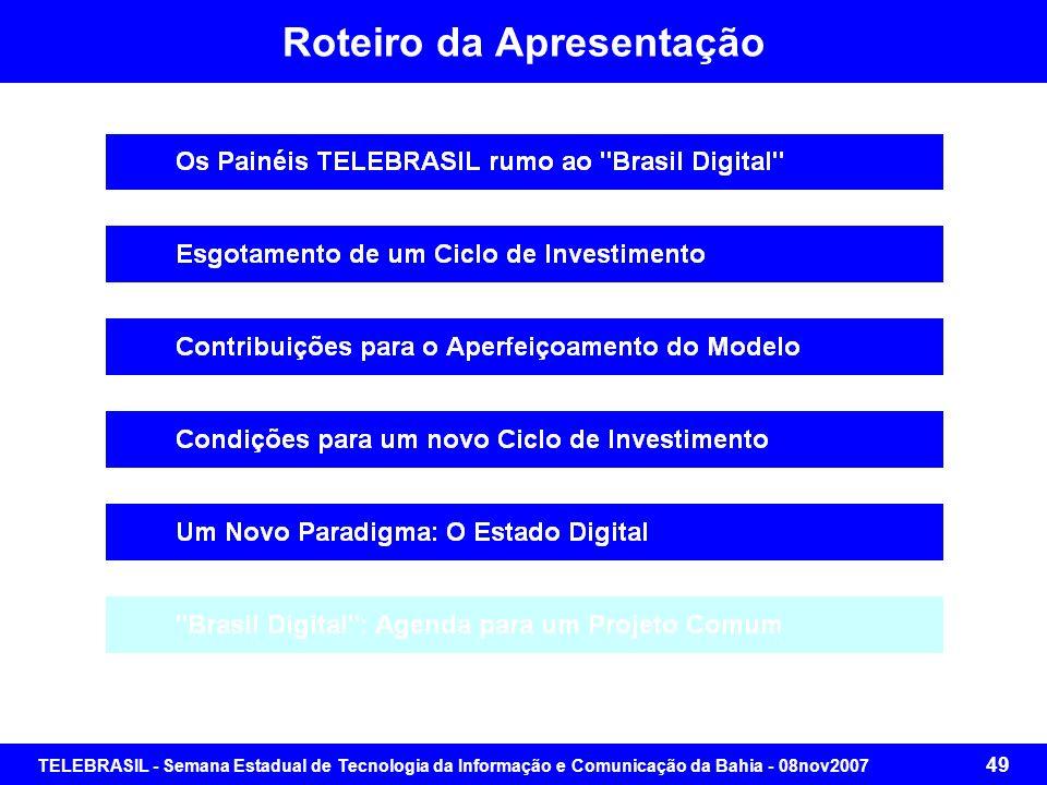 TELEBRASIL - Semana Estadual de Tecnologia da Informação e Comunicação da Bahia - 08nov2007 48 Condições para um Novo Ciclo de Investimentos Um Novo P