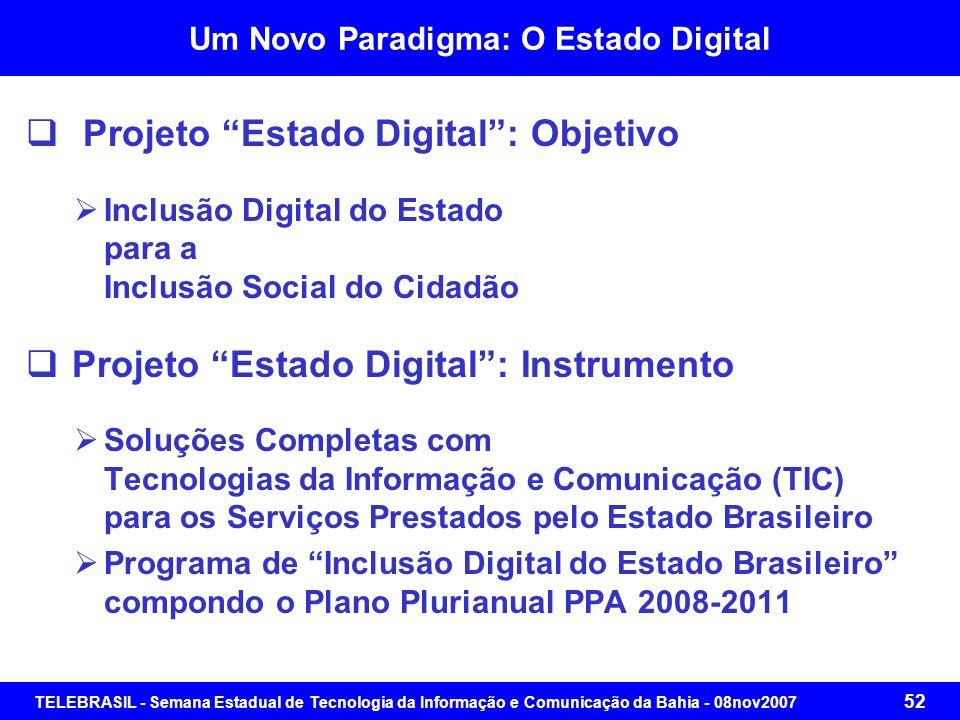 TELEBRASIL - Semana Estadual de Tecnologia da Informação e Comunicação da Bahia - 08nov2007 51 Um Novo Paradigma: O Estado Digital Políticas Públicas
