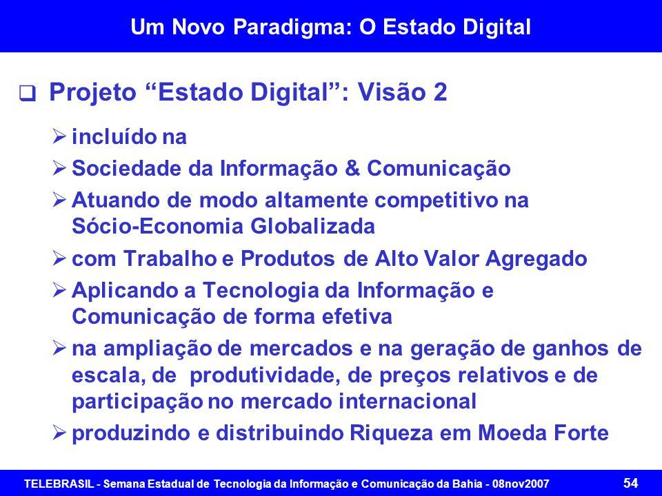 TELEBRASIL - Semana Estadual de Tecnologia da Informação e Comunicação da Bahia - 08nov2007 53 Um Novo Paradigma: O Estado Digital Projeto Estado Digi