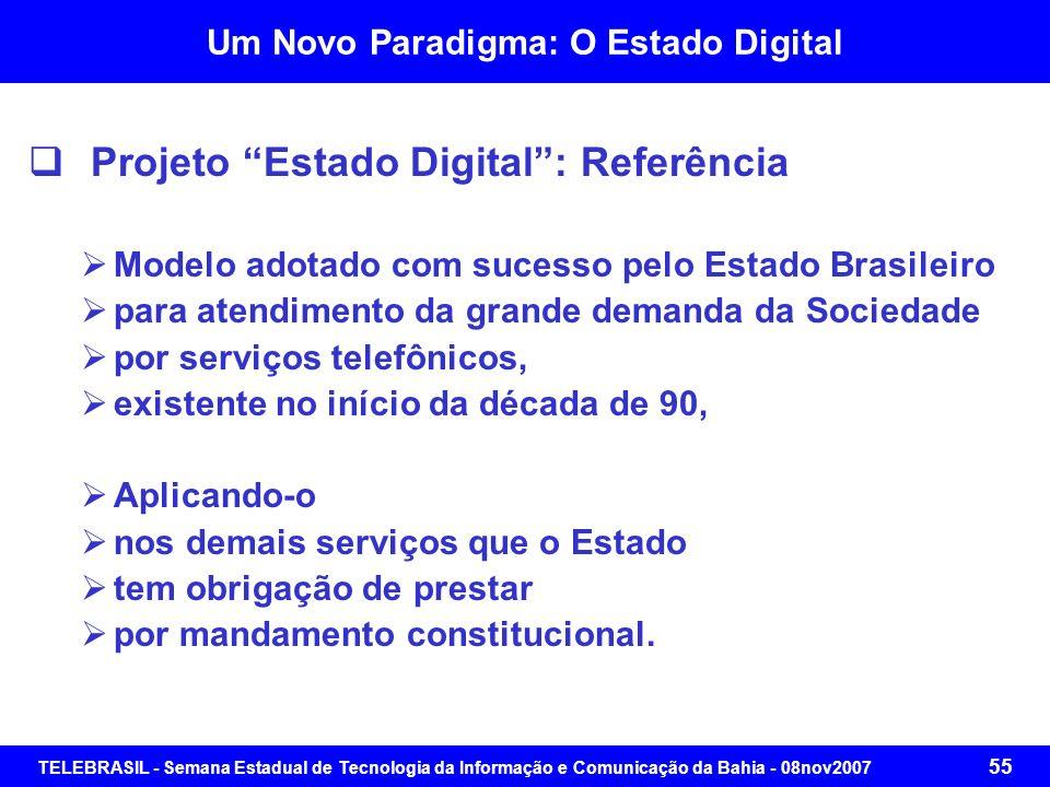 TELEBRASIL - Semana Estadual de Tecnologia da Informação e Comunicação da Bahia - 08nov2007 54 Um Novo Paradigma: O Estado Digital Projeto Estado Digi