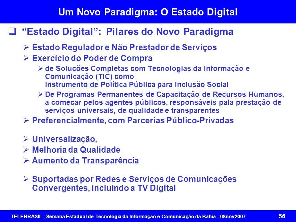 TELEBRASIL - Semana Estadual de Tecnologia da Informação e Comunicação da Bahia - 08nov2007 55 Um Novo Paradigma: O Estado Digital Projeto Estado Digi