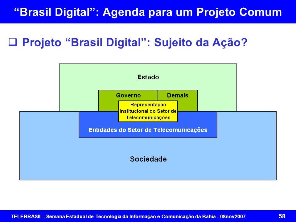 TELEBRASIL - Semana Estadual de Tecnologia da Informação e Comunicação da Bahia - 08nov2007 57 Roteiro da Apresentação