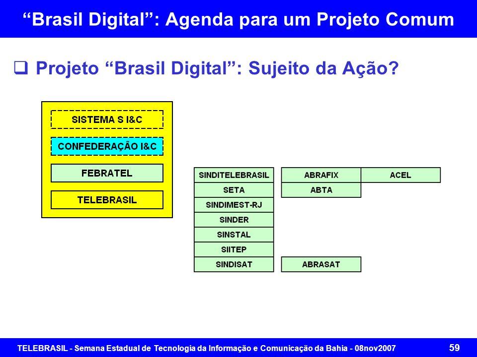 TELEBRASIL - Semana Estadual de Tecnologia da Informação e Comunicação da Bahia - 08nov2007 58 Brasil Digital: Agenda para um Projeto Comum Projeto Br