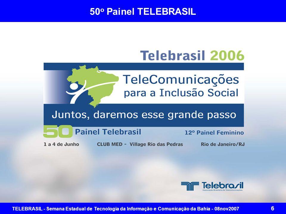 TELEBRASIL - Semana Estadual de Tecnologia da Informação e Comunicação da Bahia - 08nov2007 16 Evolução da Conjuntura Sócio-Econômica