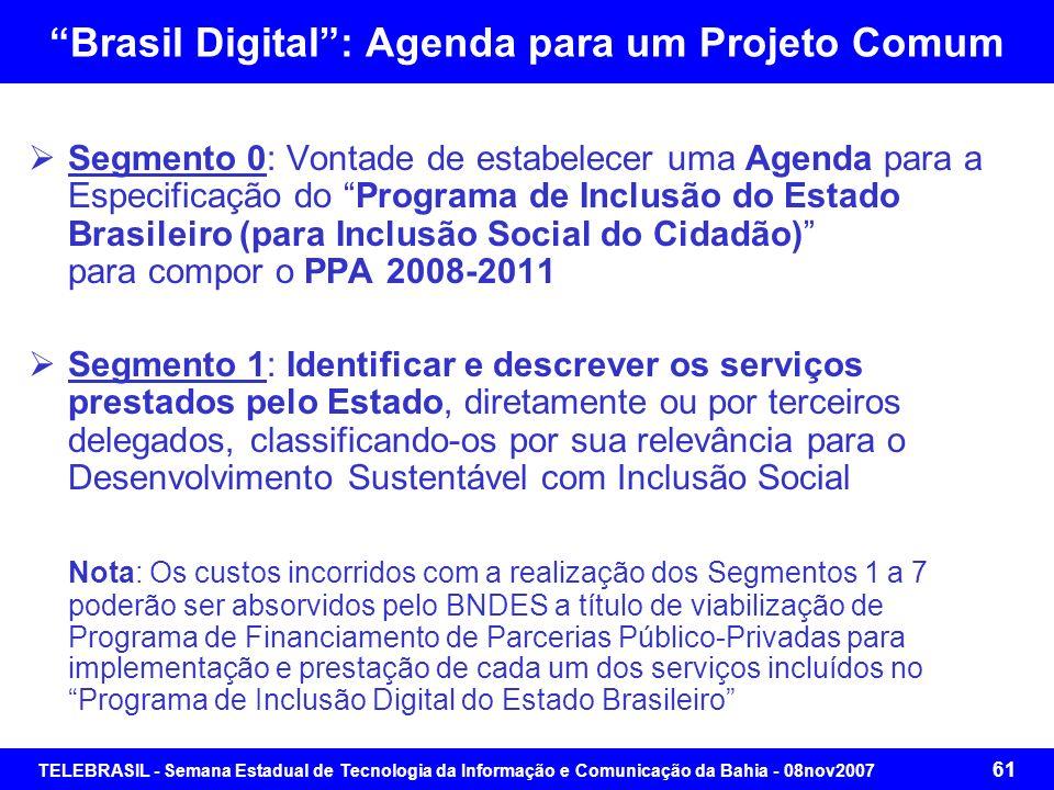 TELEBRASIL - Semana Estadual de Tecnologia da Informação e Comunicação da Bahia - 08nov2007 60 Brasil Digital: Agenda para um Projeto Comum Projeto Br