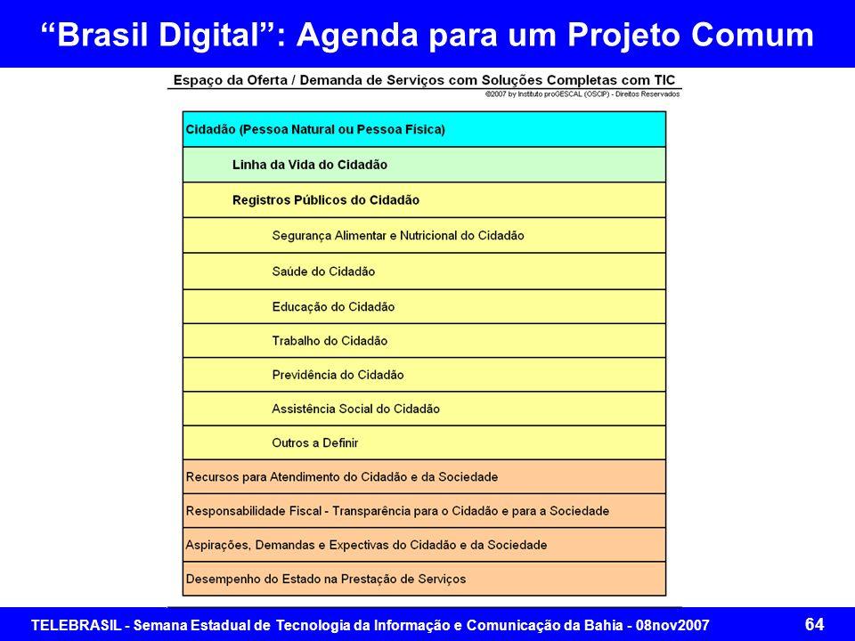 TELEBRASIL - Semana Estadual de Tecnologia da Informação e Comunicação da Bahia - 08nov2007 63 Brasil Digital: Agenda para um Projeto Comum
