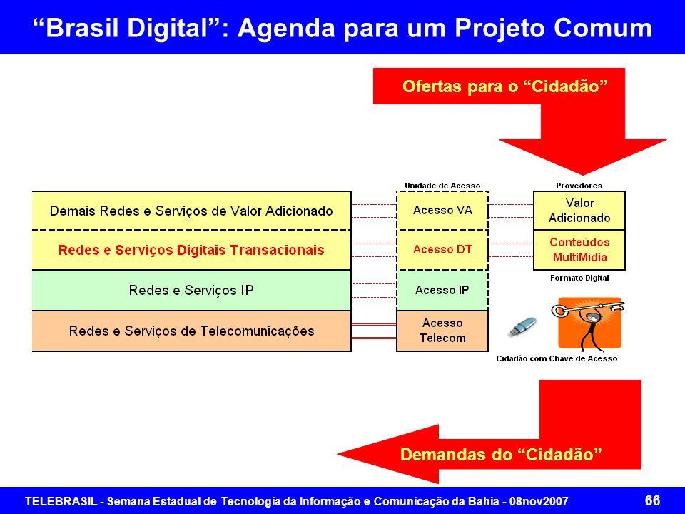 TELEBRASIL - Semana Estadual de Tecnologia da Informação e Comunicação da Bahia - 08nov2007 65 Brasil Digital: Agenda para um Projeto Comum Foco no ci