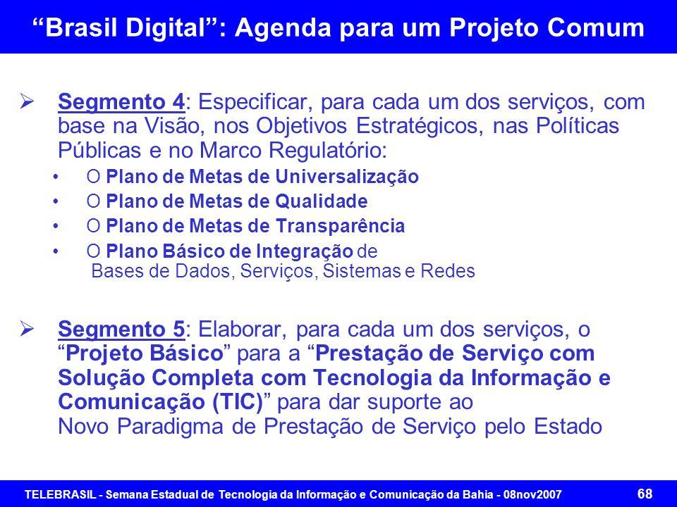 TELEBRASIL - Semana Estadual de Tecnologia da Informação e Comunicação da Bahia - 08nov2007 67 Brasil Digital: Agenda para um Projeto Comum Segmento 2