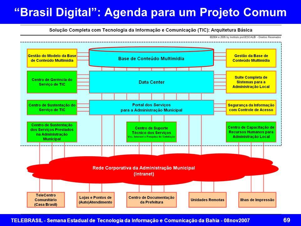 TELEBRASIL - Semana Estadual de Tecnologia da Informação e Comunicação da Bahia - 08nov2007 68 Brasil Digital: Agenda para um Projeto Comum Segmento 4