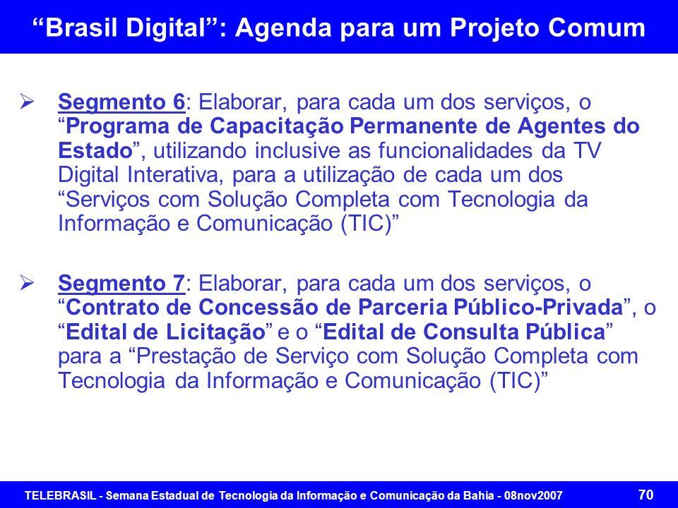 TELEBRASIL - Semana Estadual de Tecnologia da Informação e Comunicação da Bahia - 08nov2007 69 Brasil Digital: Agenda para um Projeto Comum