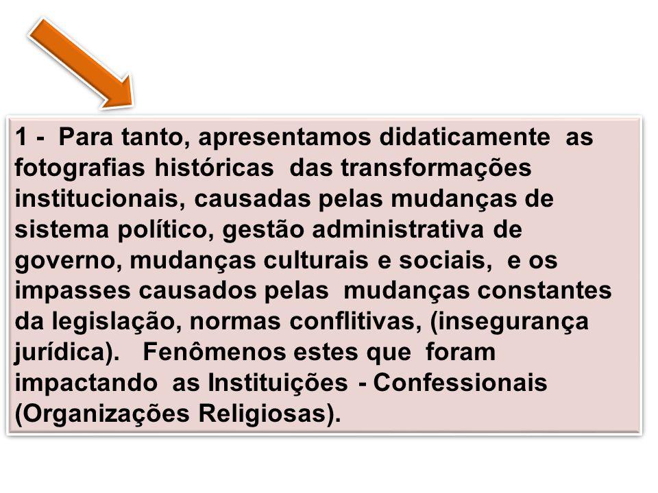 A história da Igreja no Brasil, foi construída com a presença missionária das Instituições Religiosas em terras brasileiras.