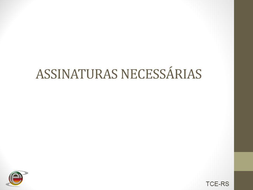 TCE-RS ASSINATURAS NECESSÁRIAS