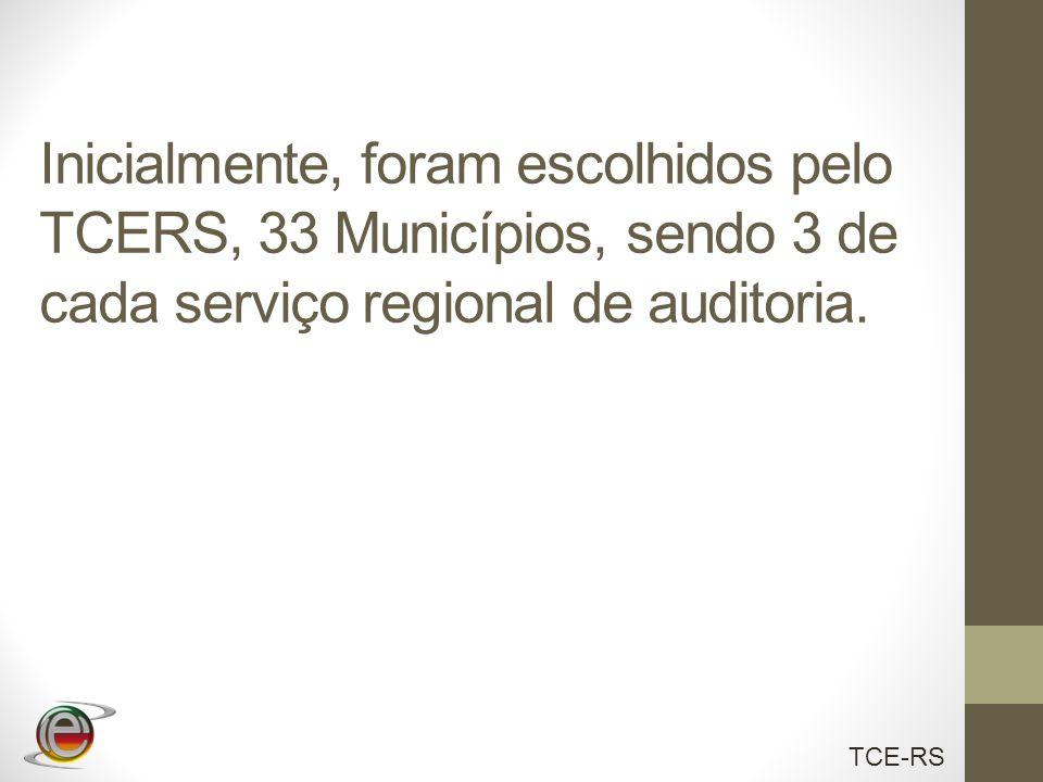 TCE-RS Inicialmente, foram escolhidos pelo TCERS, 33 Municípios, sendo 3 de cada serviço regional de auditoria.