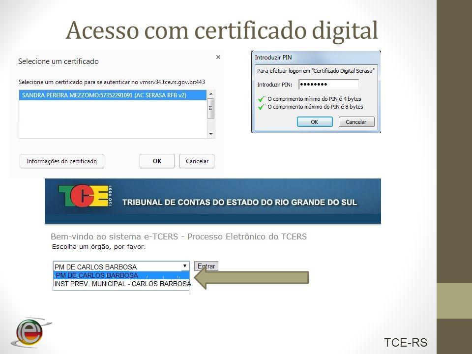 TCE-RS Acesso com certificado digital
