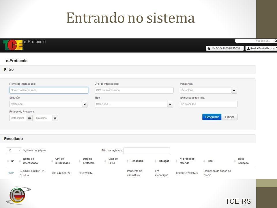 TCE-RS Entrando no sistema