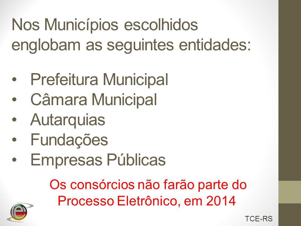 TCE-RS Nos Municípios escolhidos englobam as seguintes entidades: Prefeitura Municipal Câmara Municipal Autarquias Fundações Empresas Públicas Os cons