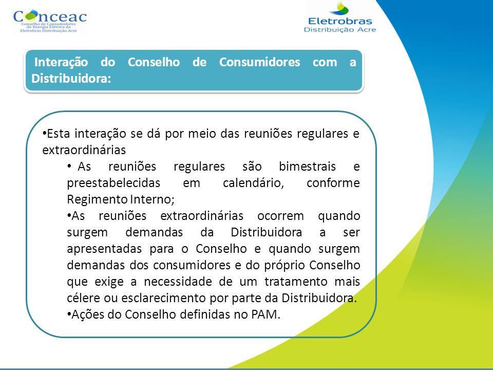 Interação do Conselho de Consumidores com a Distribuidora: Esta interação se dá por meio das reuniões regulares e extraordinárias As reuniões regulare