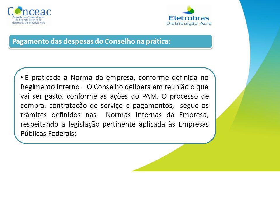 Pagamento das despesas do Conselho na prática: É praticada a Norma da empresa, conforme definida no Regimento Interno – O Conselho delibera em reunião