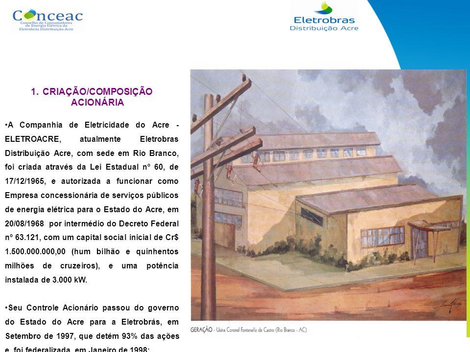 1.CRIAÇÃO/COMPOSIÇÃO ACIONÁRIA A Companhia de Eletricidade do Acre - ELETROACRE, atualmente Eletrobras Distribuição Acre, com sede em Rio Branco, foi