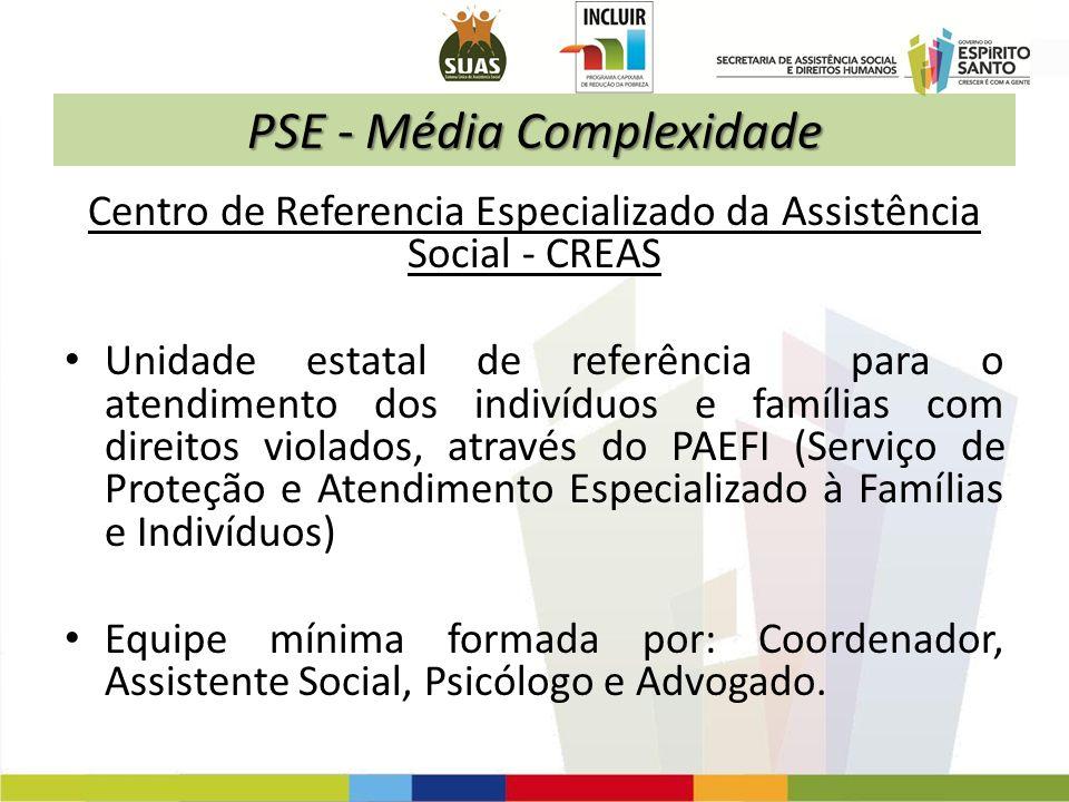 PSE - Média Complexidade Centro de Referencia Especializado da Assistência Social - CREAS Unidade estatal de referência para o atendimento dos indivíd