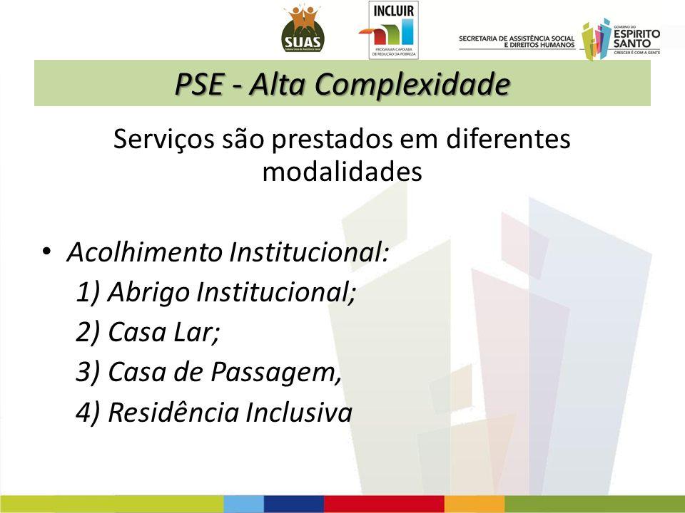 PSE - Alta Complexidade Serviços são prestados em diferentes modalidades Acolhimento Institucional: 1) Abrigo Institucional; 2) Casa Lar; 3) Casa de P