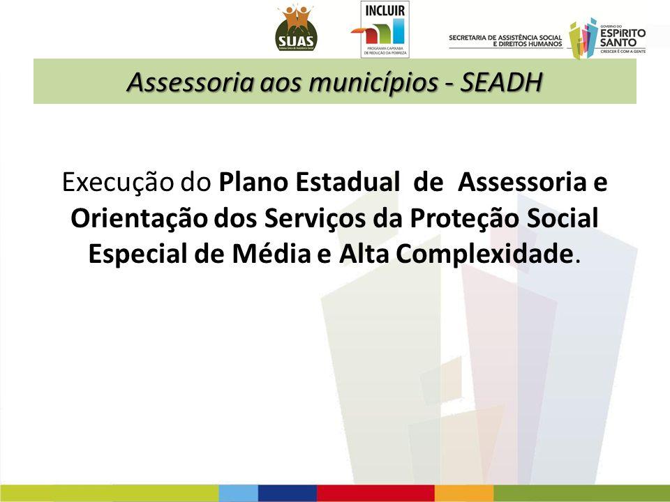 Assessoria aos municípios - SEADH Execução do Plano Estadual de Assessoria e Orientação dos Serviços da Proteção Social Especial de Média e Alta Compl