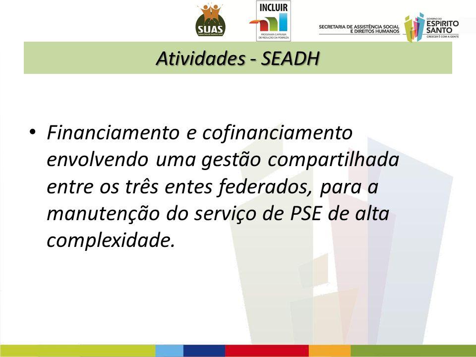 Atividades - SEADH Financiamento e cofinanciamento envolvendo uma gestão compartilhada entre os três entes federados, para a manutenção do serviço de