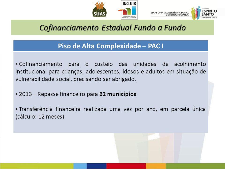 Cofinanciamento Estadual Fundo a Fundo Piso de Alta Complexidade – PAC I Cofinanciamento para o custeio das unidades de acolhimento institucional para