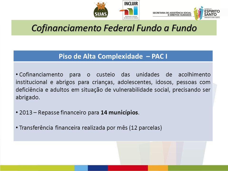 Cofinanciamento Federal Fundo a Fundo Piso de Alta Complexidade – PAC I Cofinanciamento para o custeio das unidades de acolhimento institucional e abr