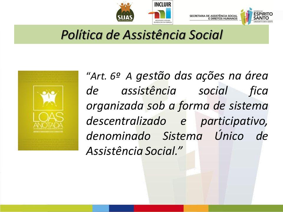 Política de Assistência Social Art. 6º A gestão das ações na área de assistência social fica organizada sob a forma de sistema descentralizado e parti