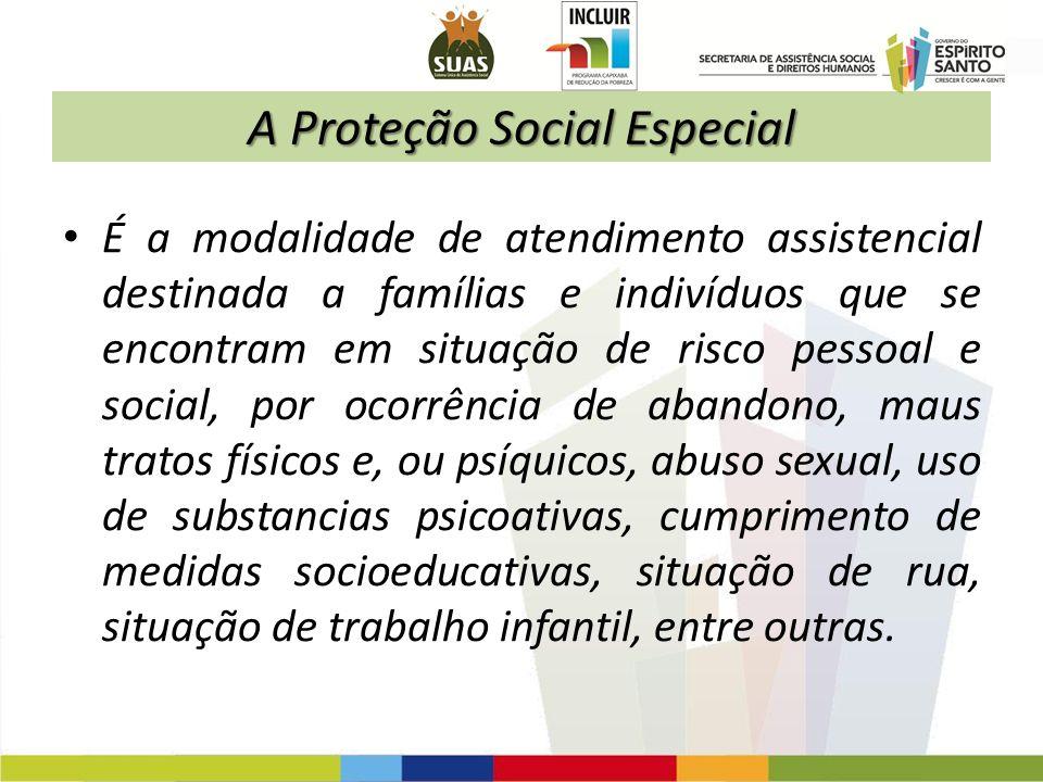 A Proteção Social Especial É a modalidade de atendimento assistencial destinada a famílias e indivíduos que se encontram em situação de risco pessoal
