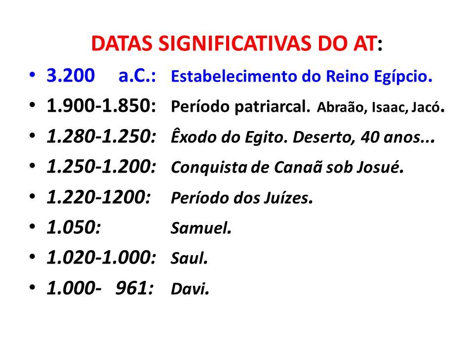 DATAS SIGNIFICATIVAS DO AT: 3.200 a.C.: Estabelecimento do Reino Egípcio. 1.900-1.850: Período patriarcal. Abraão, Isaac, Jacó. 1.280-1.250: Êxodo do