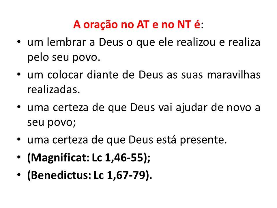 A oração no AT e no NT é: um lembrar a Deus o que ele realizou e realiza pelo seu povo. um colocar diante de Deus as suas maravilhas realizadas. uma c