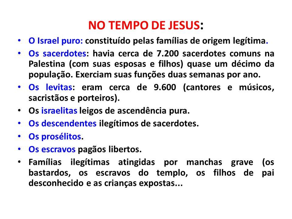 NO TEMPO DE JESUS : O Israel puro: constituído pelas famílias de origem legítima. Os sacerdotes: havia cerca de 7.200 sacerdotes comuns na Palestina (