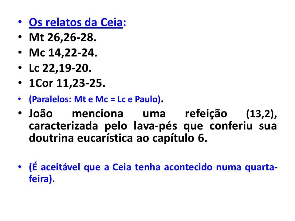 Os relatos da Ceia: Mt 26,26-28. Mc 14,22-24. Lc 22,19-20. 1Cor 11,23-25. (Paralelos: Mt e Mc = Lc e Paulo). João menciona uma refeição (13,2), caract