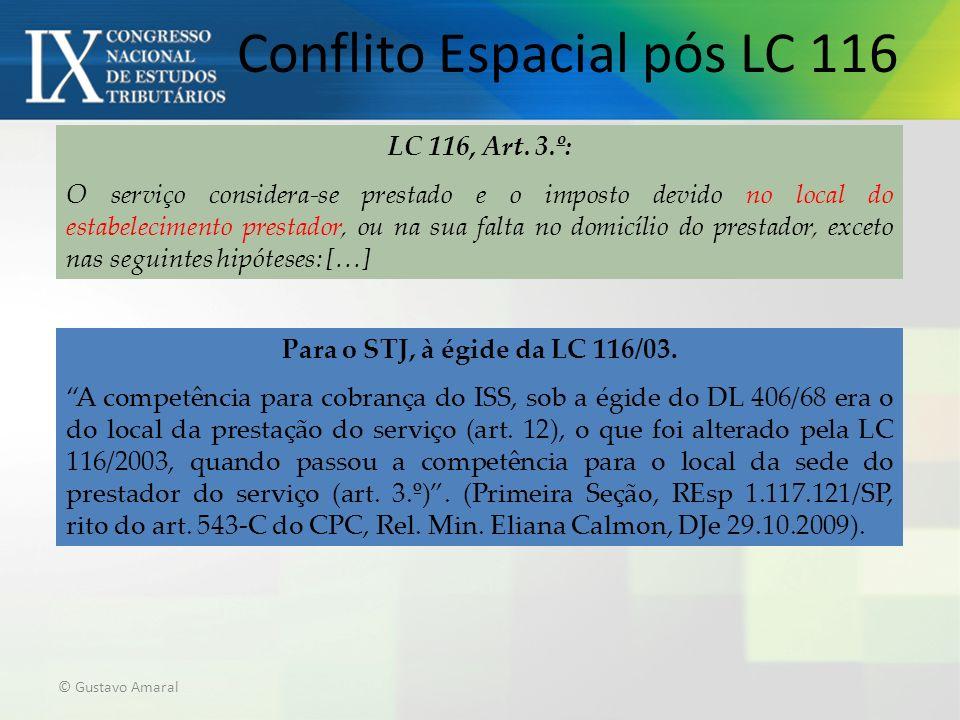 Conflito Espacial pós LC 116 © Gustavo Amaral Para o STJ, à égide da LC 116/03. A competência para cobrança do ISS, sob a égide do DL 406/68 era o do