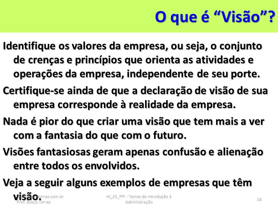 O que é Visão? Identifique os valores da empresa, ou seja, o conjunto de crenças e princípios que orienta as atividades e operações da empresa, indepe