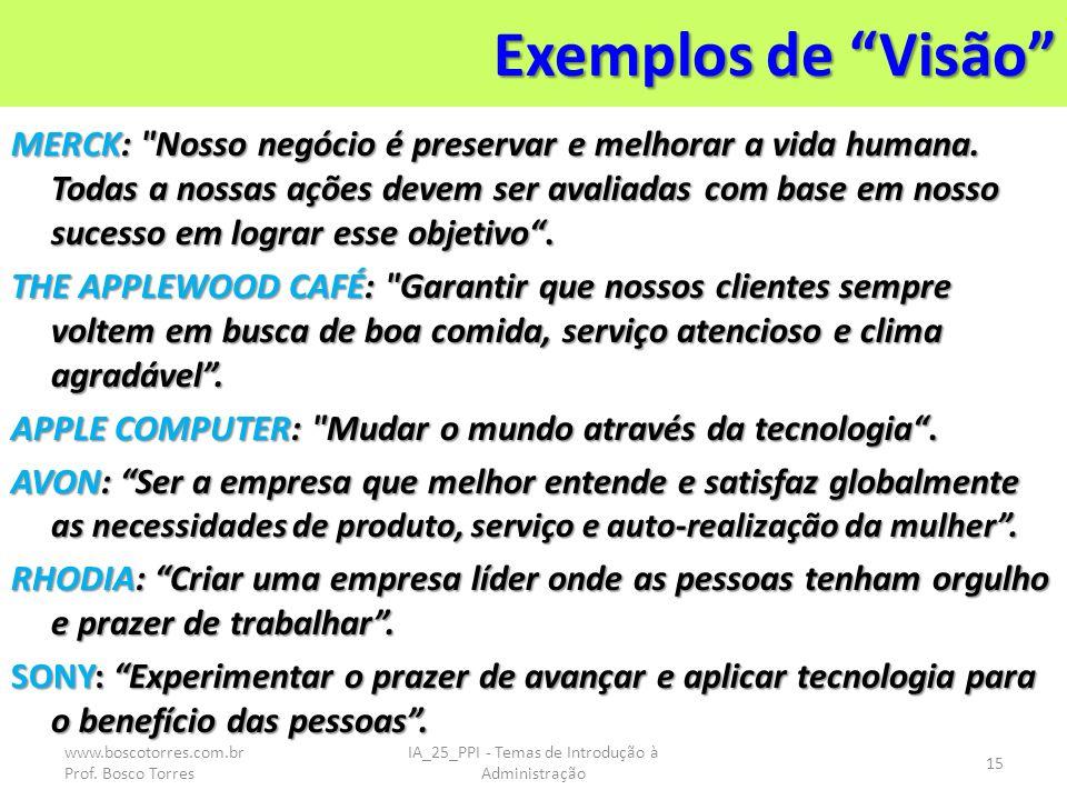 Exemplos de Visão MERCK: