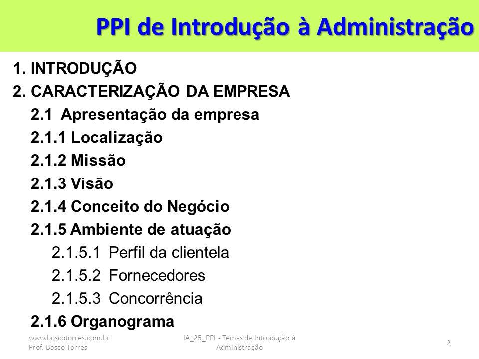 PPI de Introdução à Administração 1.INTRODUÇÃO 2.CARACTERIZAÇÃO DA EMPRESA 2.1Apresentação da empresa 2.1.1 Localização 2.1.2 Missão 2.1.3 Visão 2.1.4 Conceito do Negócio 2.1.5 Ambiente de atuação 2.1.5.1Perfil da clientela 2.1.5.2Fornecedores 2.1.5.3Concorrência 2.1.6 Organograma IA_25_PPI - Temas de Introdução à Administração 2 www.boscotorres.com.br Prof.