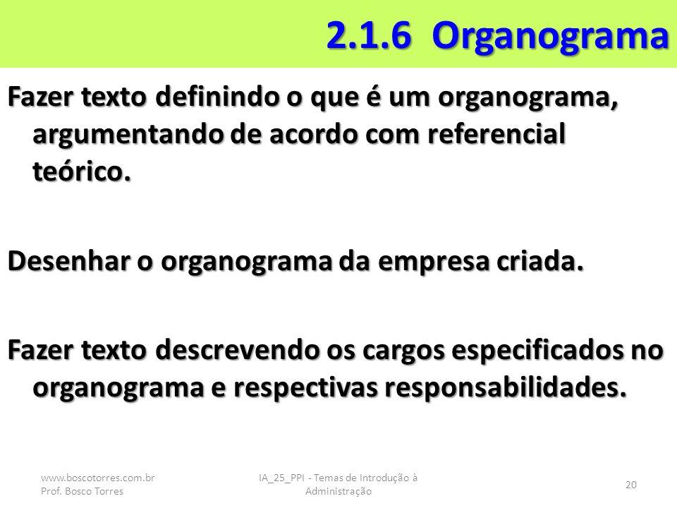 2.1.6 Organograma Fazer texto definindo o que é um organograma, argumentando de acordo com referencial teórico. Desenhar o organograma da empresa cria